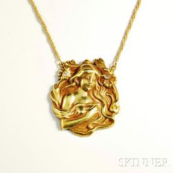 Art Nouveau 14kt Gold and Diamond Pendant and Chain