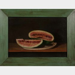 Spanish School, Early 20th Century      Still Life with Watermelon on a Platter.
