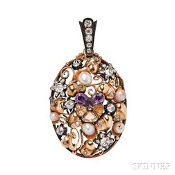 Antique 14kt Gold, Diamond, Amethyst, and Citrine Pendant
