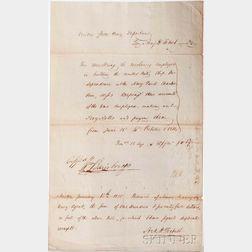 Bainbridge, Commodore William (1774-1833) Receipt Signed, 1814.