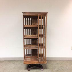 Oak Four-tier Revolving Bookcase