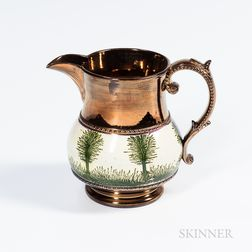 "Copper Lustre and Mocha ""Tree"" Decorated Jug"