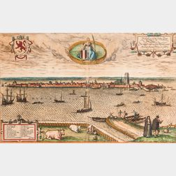 Frans Hogenberg (Flemish, 1535-1590), Pictorial View from Dordrect on the Merwede, Dordracvm vulgo Dortt: Me Mosa, et Walis, cum Linga