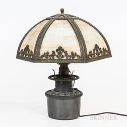 Renaissance Revival Wrought Iron and Slag Glass Floor Lamp