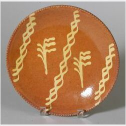 Yellow Slip Decorated Redware Plate
