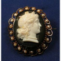 Antique 18kt Gold, Onyx Chalcedony and Seed Pearl Cameo Brooch