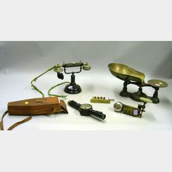 Fairbanks Cast Iron Counter Scale, Two Veeder-Root Elm City Brass Counters, an Early Telephone, and a Keuffel-E...