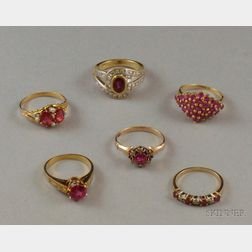Six Assorted Gold and Gem-set Rings