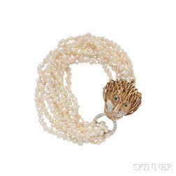 14kt Gold and Freshwater Pearl Torsade Bracelet