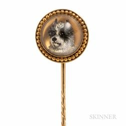 Antique Gold and Reverse-painted Crystal Stickpin