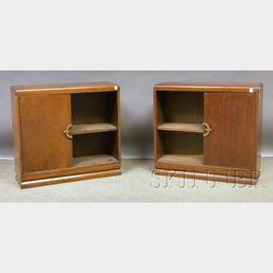 Pair of Modern Walnut Veneer Side Cabinets