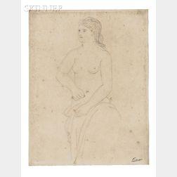 Pablo Picasso (Spanish, 1881-1973)      Femme retenant son peignoir
