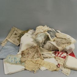 Large Group of Embroidered Cotton and Lace Table Linens and Textiles