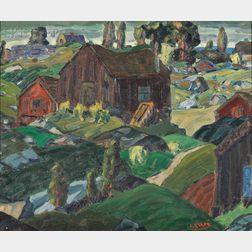 Leighton R. Cram (American, 1895-1981)      Farm View, Possibly Rockport