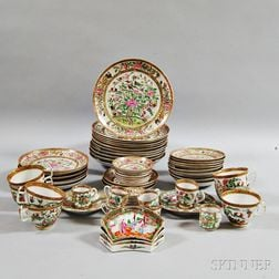 Approximately Sixty Famille Rose and Rose Medallion Porcelain Tableware Items