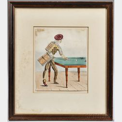 Anglo American School, 19th Century  Hand-colored Lithograph of Fanciful Figure Created of Game Pieces.  Unsigned, attribu...