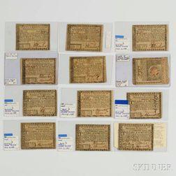 Twelve 1780 Rhode Island Notes