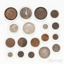 Eighteen Napoleonic Coins