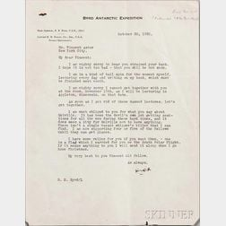 Byrd, Richard E. (1888-1957) Typed Letter Signed, 30 October 1930.