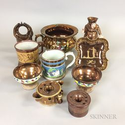 Ten Copper Lustre Ceramic Items