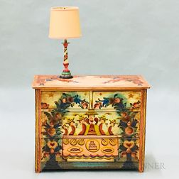 Peter Hunt Paint-decorated Bureau and Table Lamp