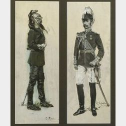 (William) Gilbert Gaul (American, 1855-1919)  Lot of Two Figural Studies of Soldiers