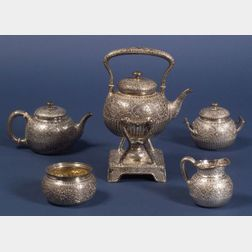 Five Piece Whiting Manufacturing Co. Sterling Aesthetic Movement Tea Service with    Silver Plated Tray