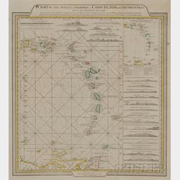 English Engraved Map of the Caribbean Islands
