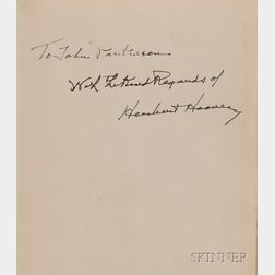 Hoover, Herbert (1874-1964), Signed Copy