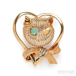 14kt Gold and Emerald Brooch, Andrew Gates