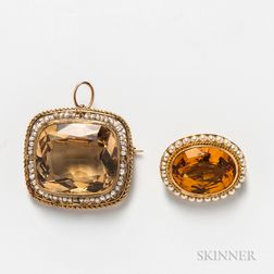 Two Gold and Citrine Brooches