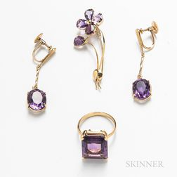Group of 18kt Gold and Amethyst Jewelry