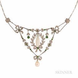 Opal, Demantoid Garnet, and Diamond Necklace