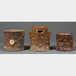 Three Rockingham Glazed Pewtress Pottery Tree Stump-form Planters