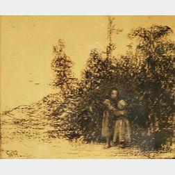 William Morris Hunt (American, 1824-1879)      Children at the Edge of a Copse.
