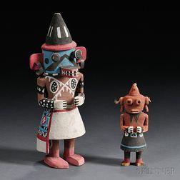 Two Polychrome Carved Wood Kachinas