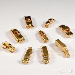 Nine 14kt Gold Automobile Charms
