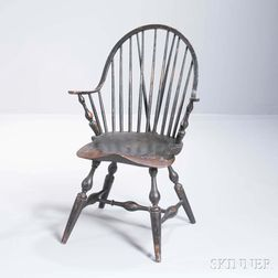 Painted Braced Continuous Arm Windsor Armchair
