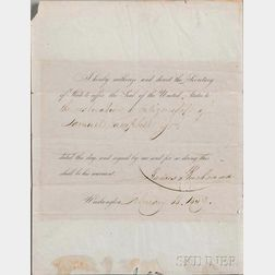 Buchanan, James (1791-1868) Document Signed, 18 February 1859.