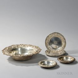 Seven Pieces of Kirk Repousse Sterling Silver Tableware