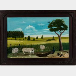 Seymour Lindsey (Ohio, 1848-1927)      Farm Scene with Sheep and Peacock