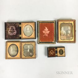 Four Daguerreotypes and an Ambrotype.     Estimate $200-250