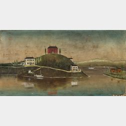 American School, 19th Century      Seaside Landscape with Red Brick House on a Hill