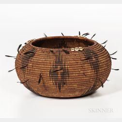 Pomo Polychrome Basketry Bowl