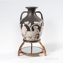 "Wedgwood Solid Black Jasper ""Northwood"" Copy of the Portland Vase"