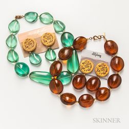 Two Kenneth Lane Necklace and Earclip Sets