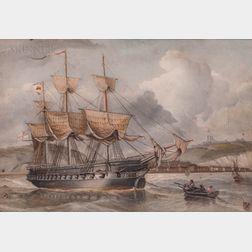 W. Sheridan (European, act. 19th Century)      Man of War Off Dover