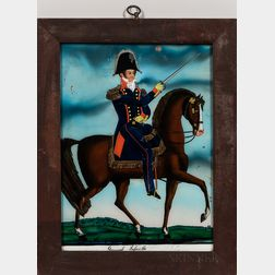 """Reverse-painting on Glass """"General Lafaiette,"""""""