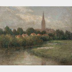 John Ferguson Weir (American, 1841-1926)      Salisbury Cathedral