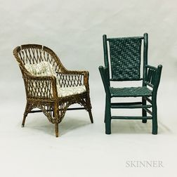 Green-painted Adirondack Armchair and Wicker Armchair